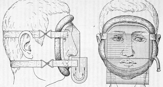 Disegno della maschera antigas ideata da Amedeo Herlitzka - Istituto di Fisiologia Umana dell'Università di Torino.jpg